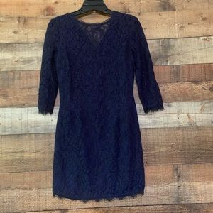 VICI navy lace mini dress long sleeve, size small